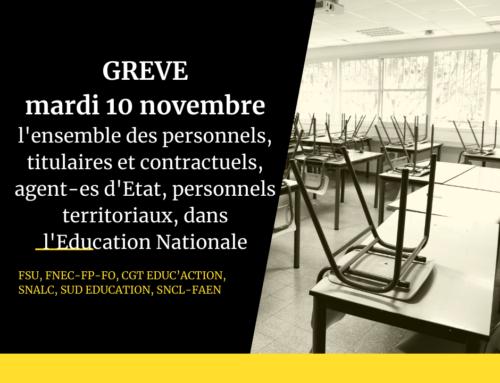 Appel à la grève dans l'Éducation Nationale mardi 10 novembre